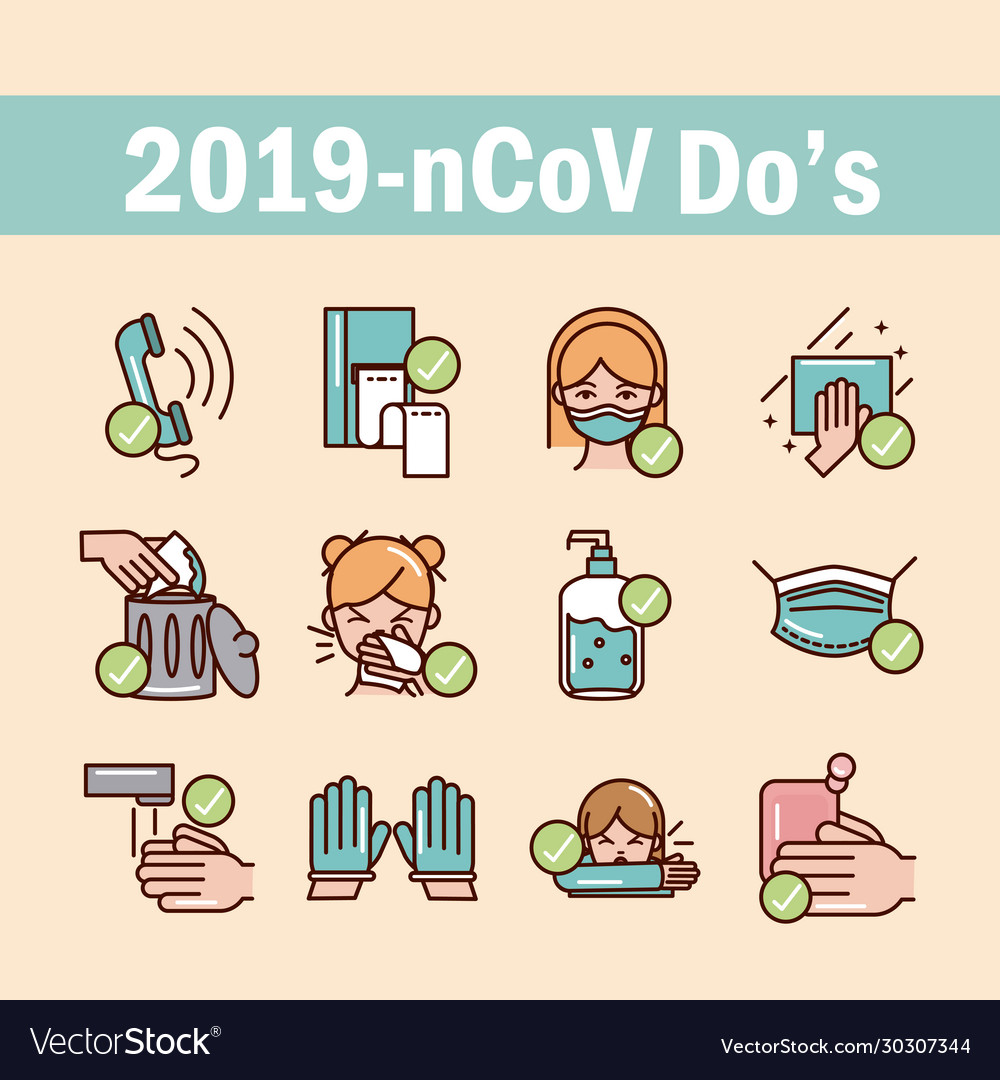 Avoid and prevent spread covid19 icons set line