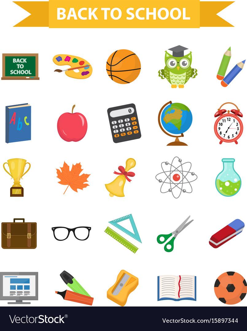 Back to school icon set flat cartoon style