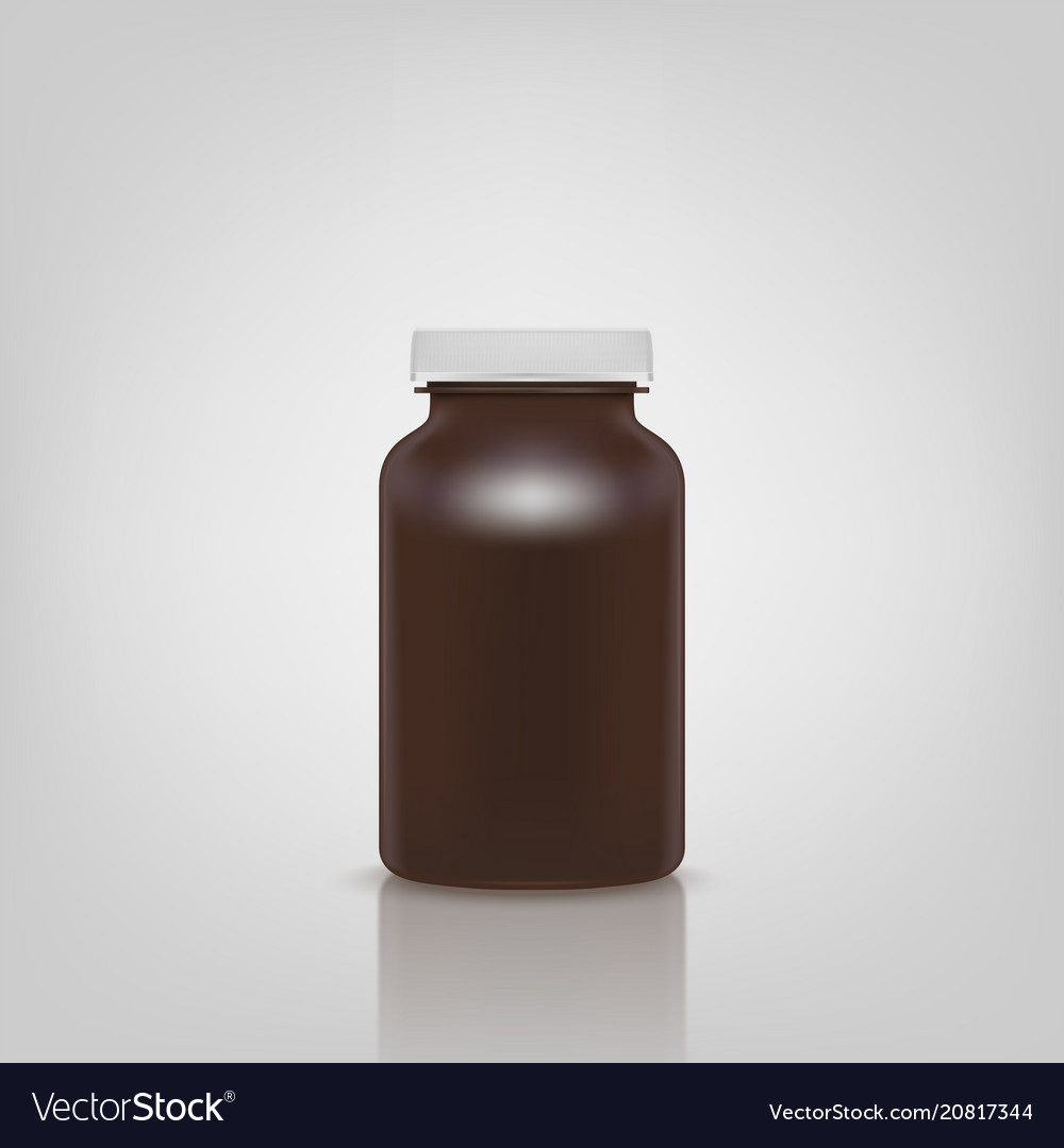Blank brown pills container without label isolated vector image
