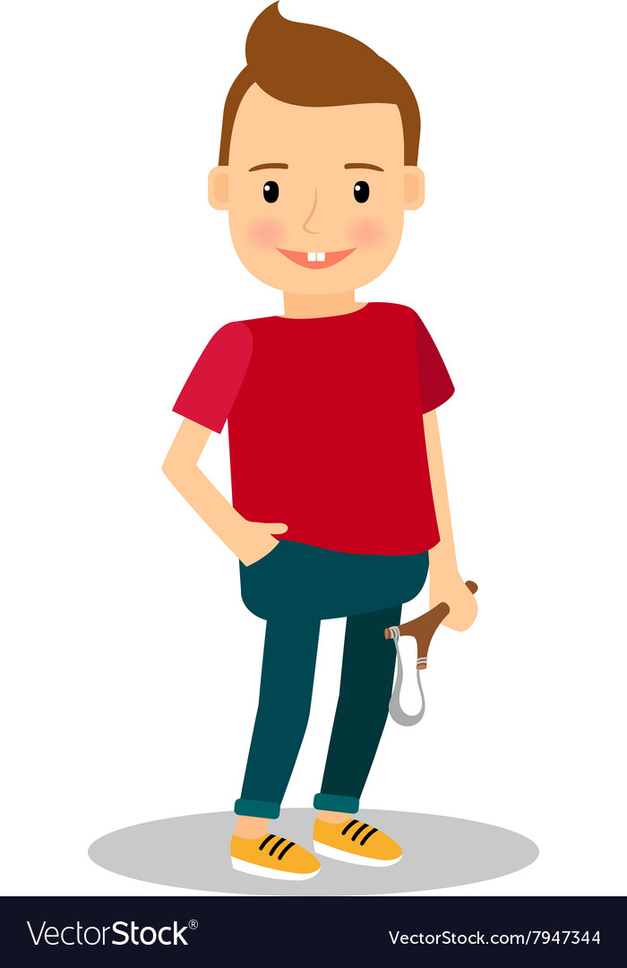 Bully or teaser boy with slingshot vector image