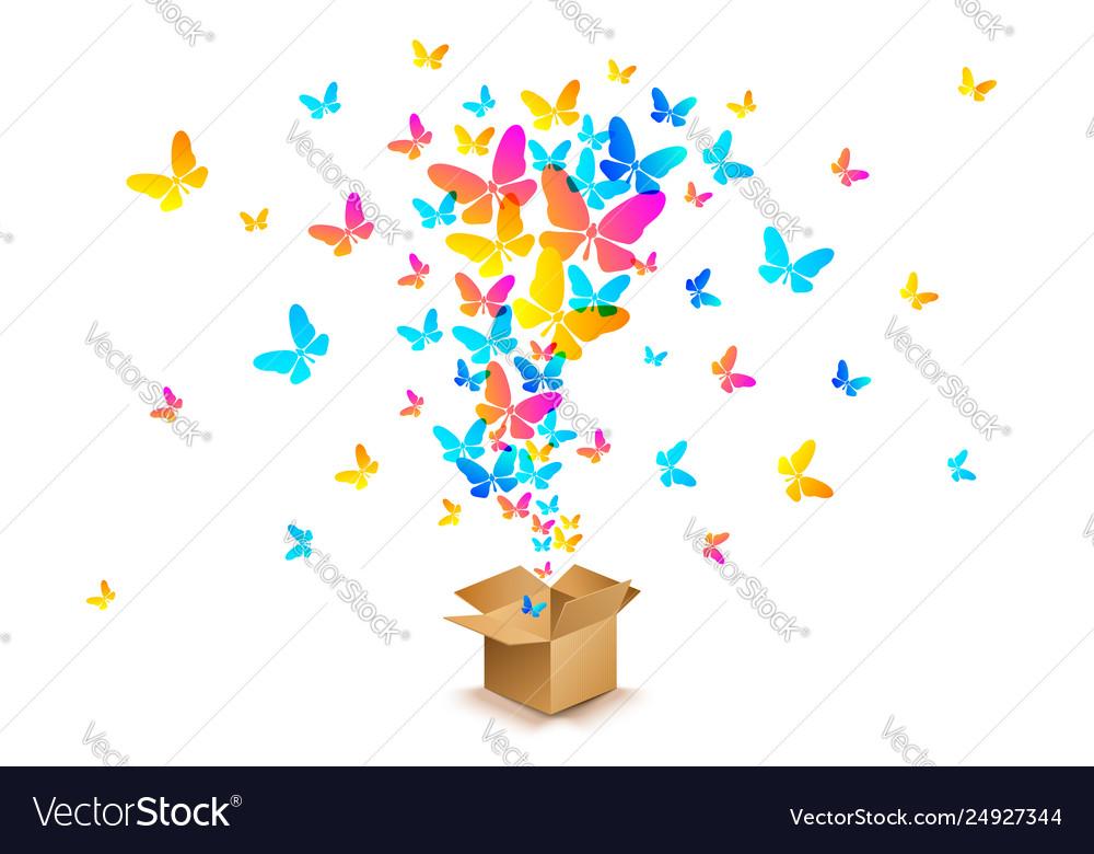 Butterflies from open cardboard box