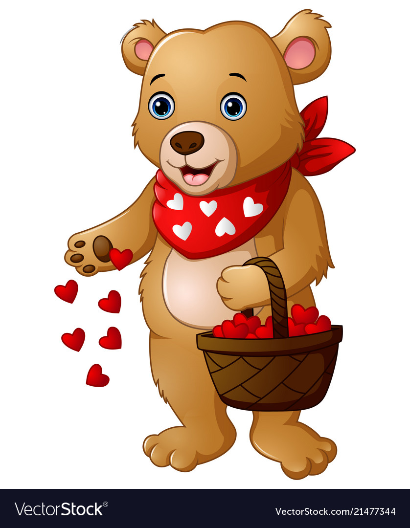 Cartoon bear with a basket red heart