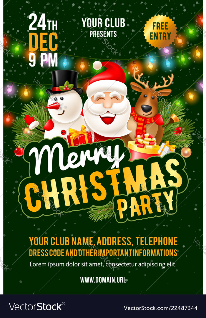 christmas party announcement template royalty free vector