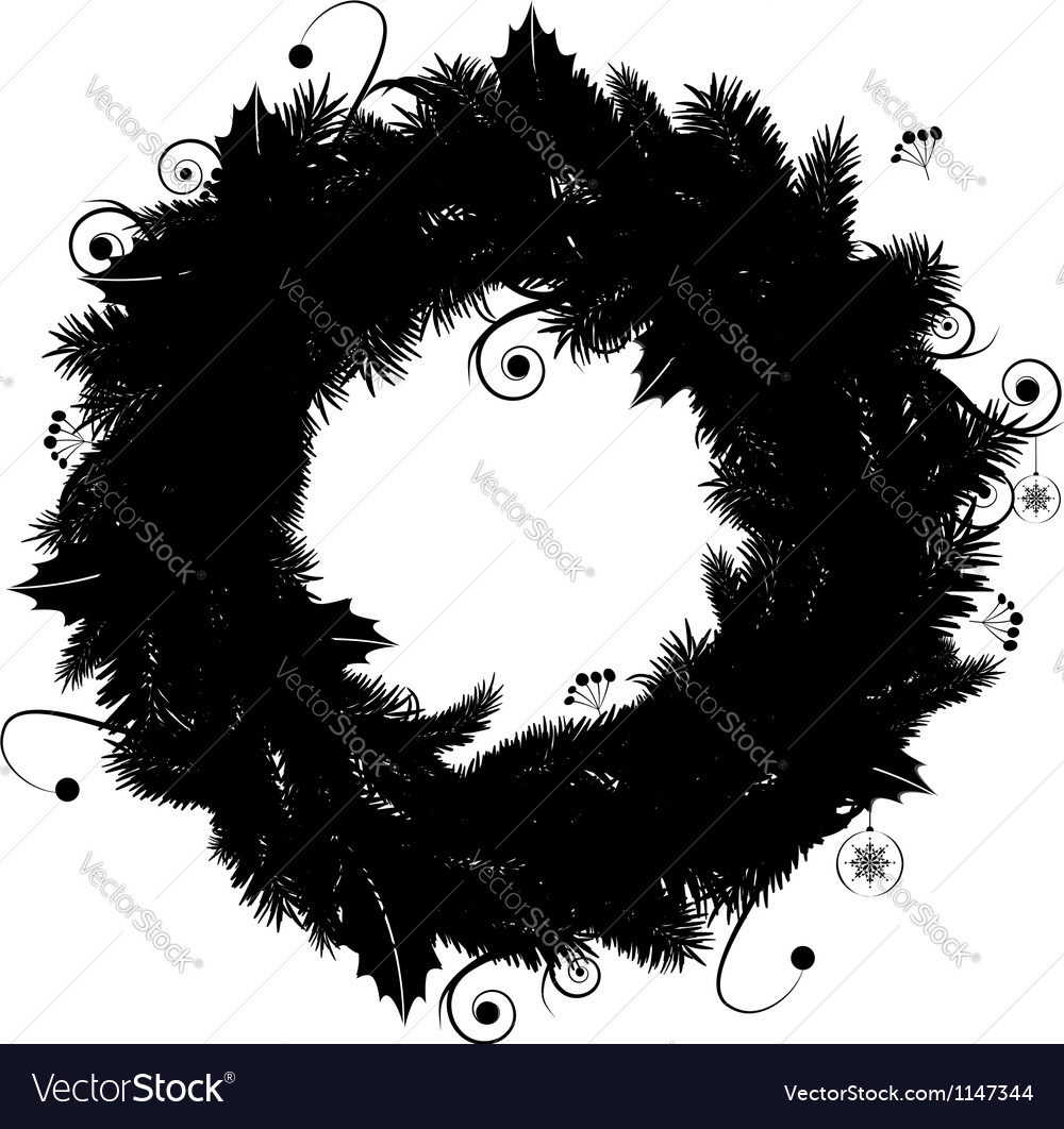 Christmas Wreath Silhouette Vector.Christmas Wreath Silhouette For Your Design