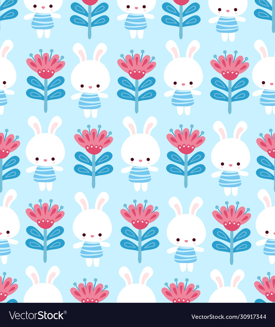 Cute floral pattern with a hare on a blue
