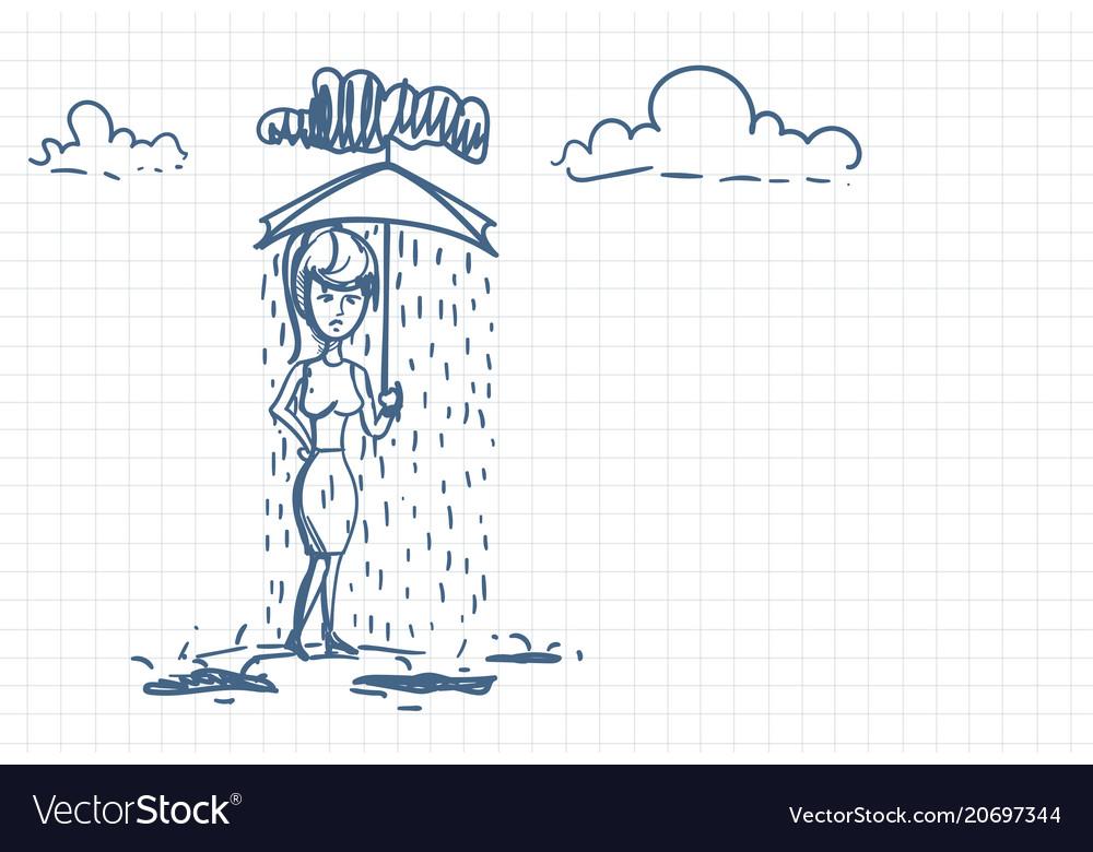 Desperate businesswoman under rain holding
