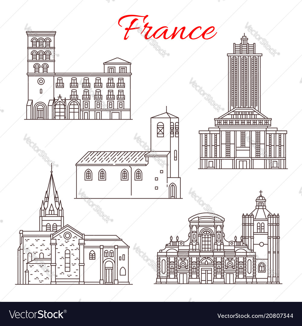 France travel landmarks line art icons
