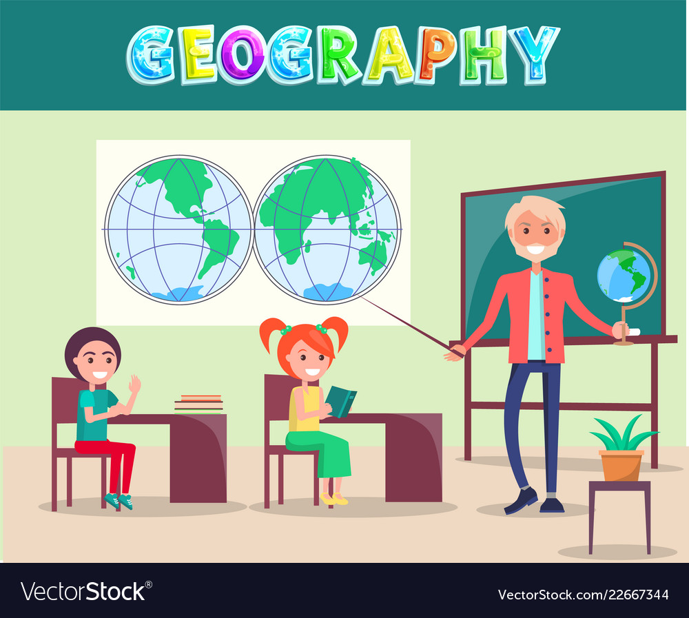Geography lesson poster with smiling characters