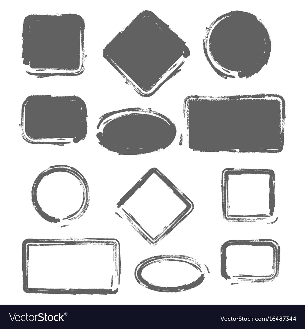 grunge vintage painted shapes set royalty free vector image