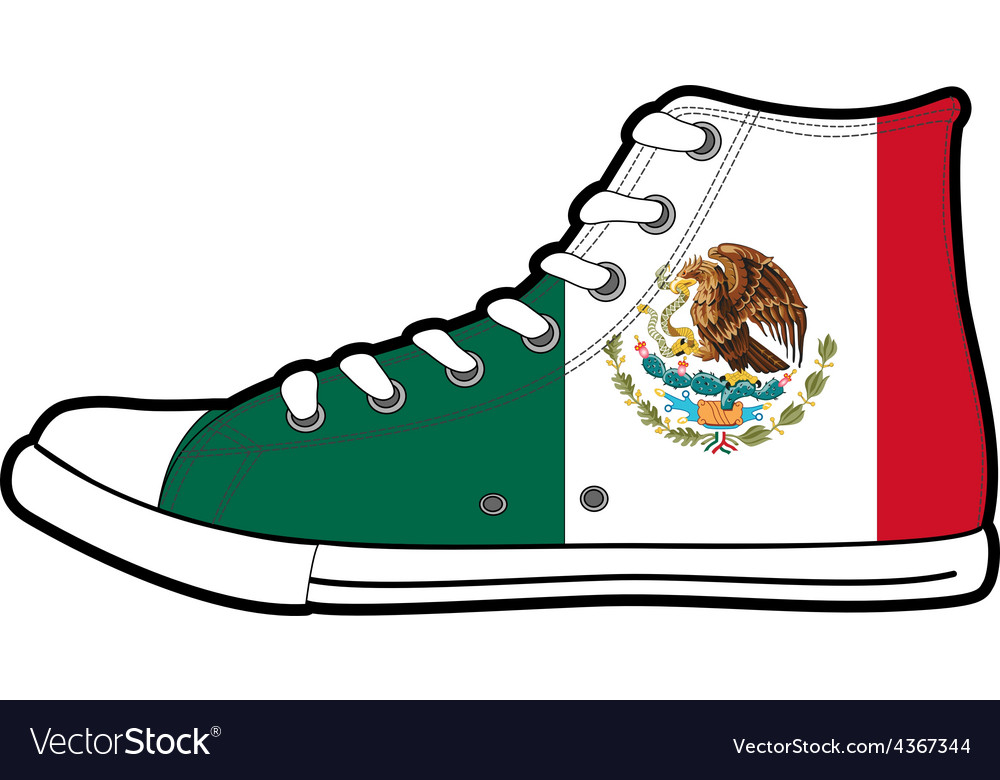 Isolated modern sneakers with Mexico flag vector image