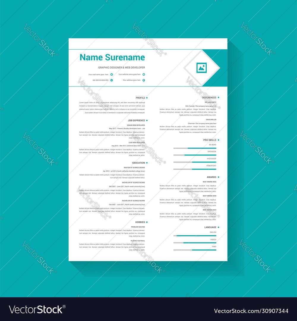 Minimalist Modern Professional Resume Template Vector Image