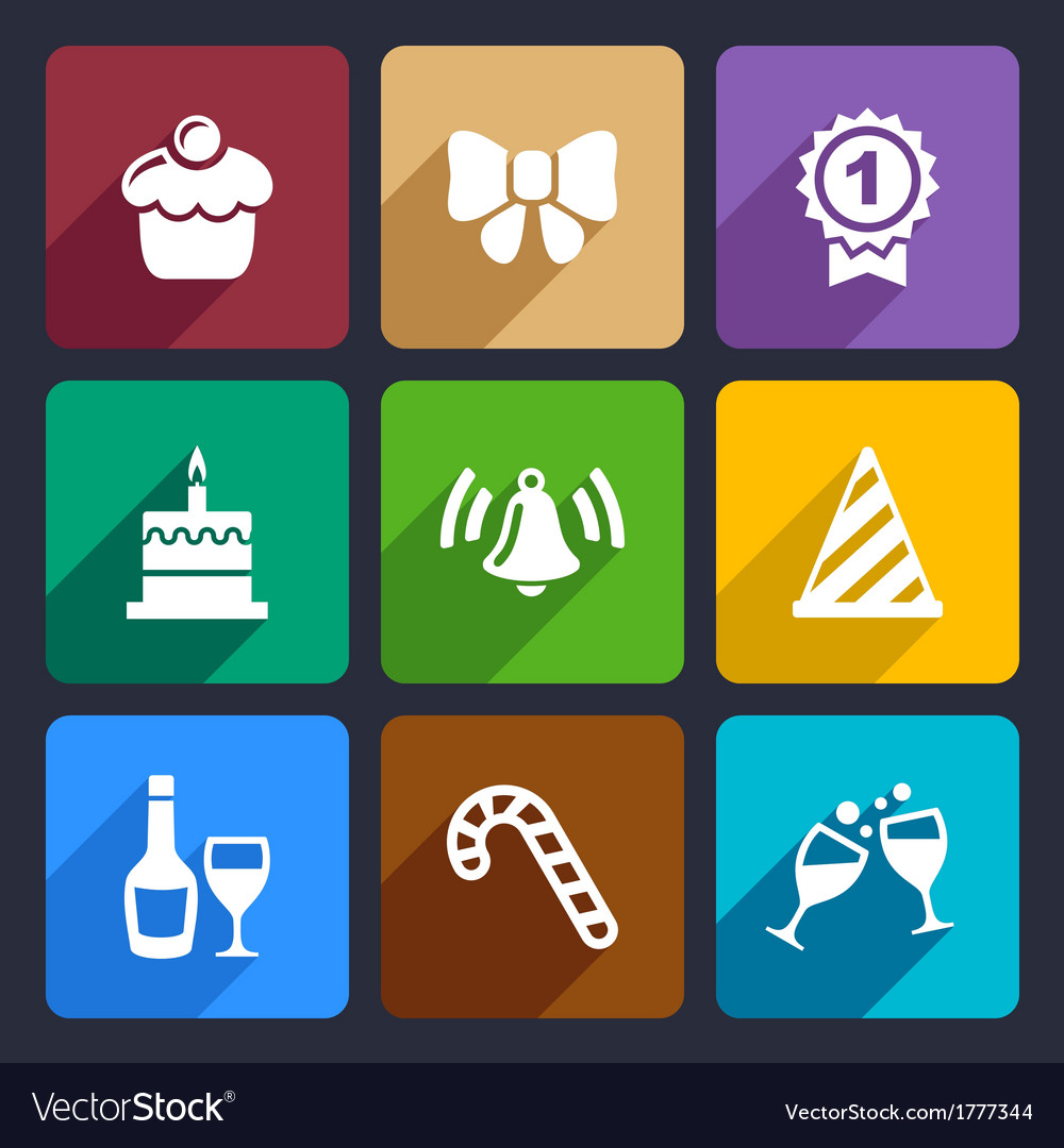 Party and Celebration icons set 30 vector image