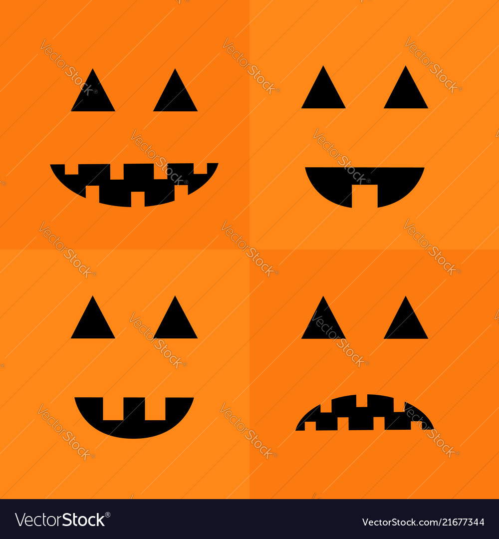 Pumpkin smiling sad face emotion set big triangle