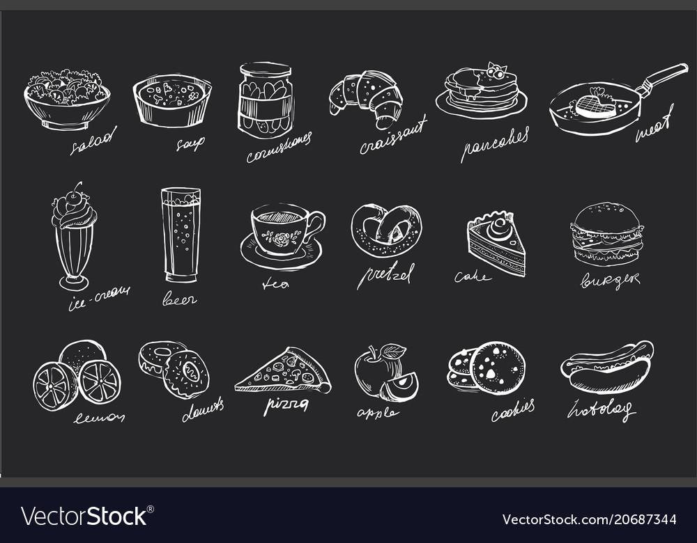 Set hand drawn food and drinks on black
