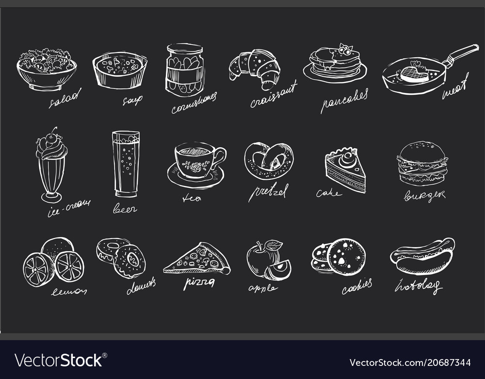 Set of hand drawn food and drinks on black