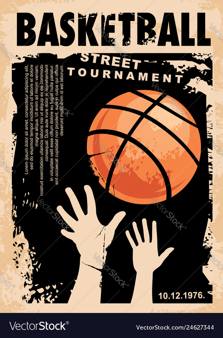 Street basketball grunge poster design layout