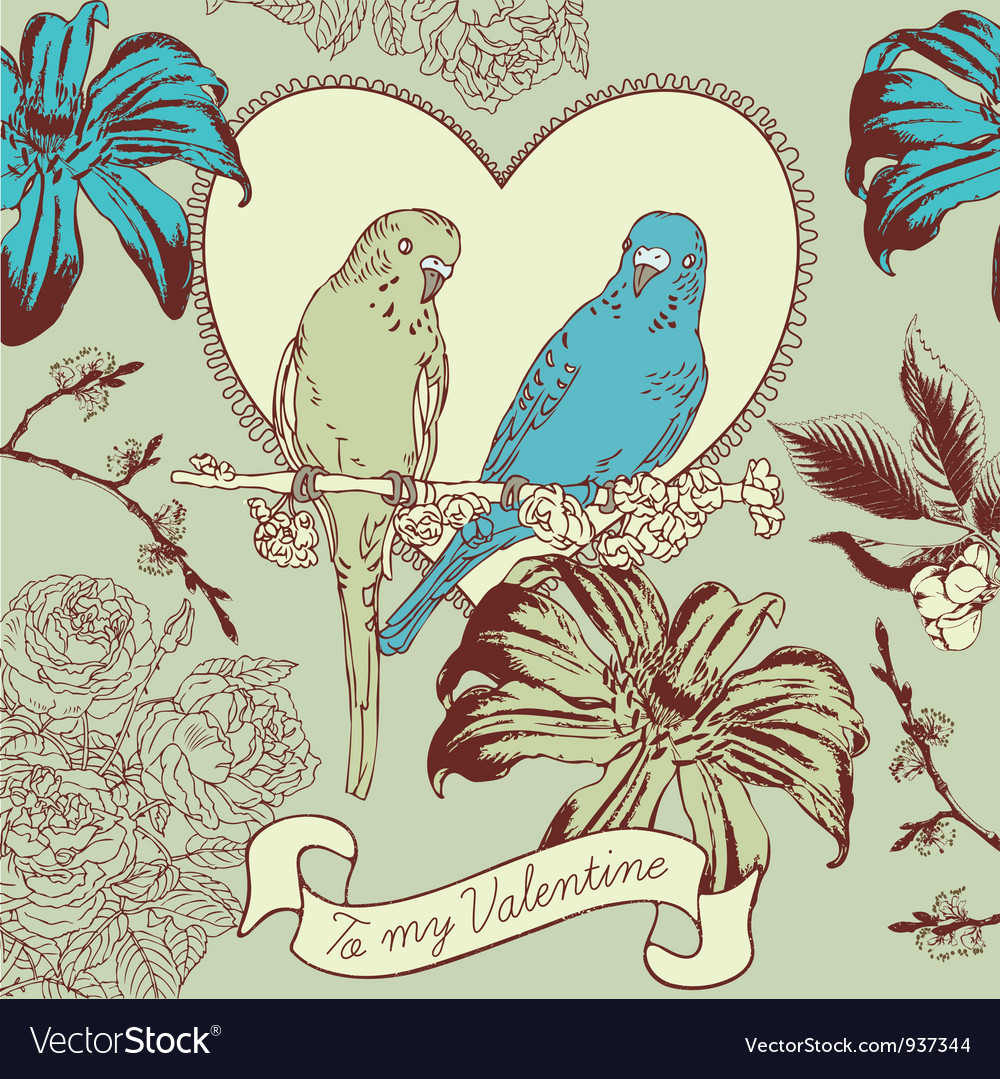 Vintage Valentines Love Birds Card