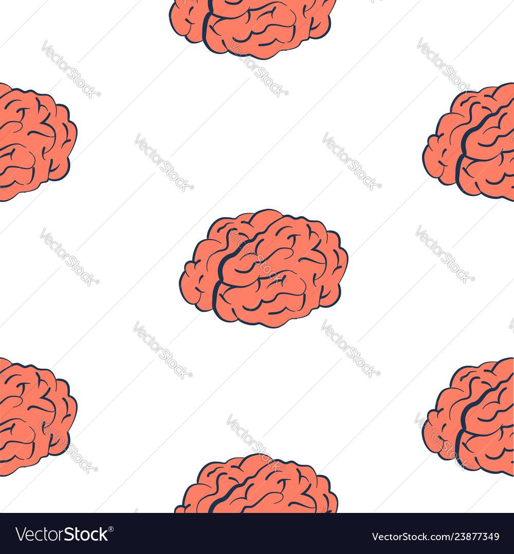Brains on white seamless pattern
