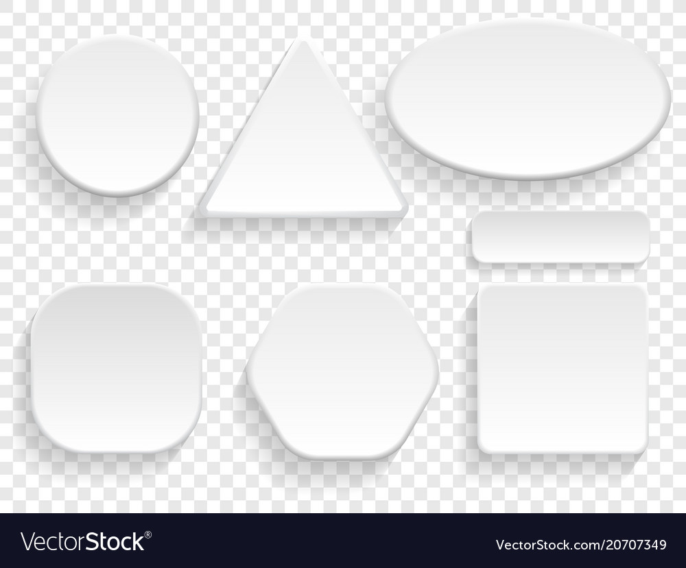 Buttons 3d white isolated set