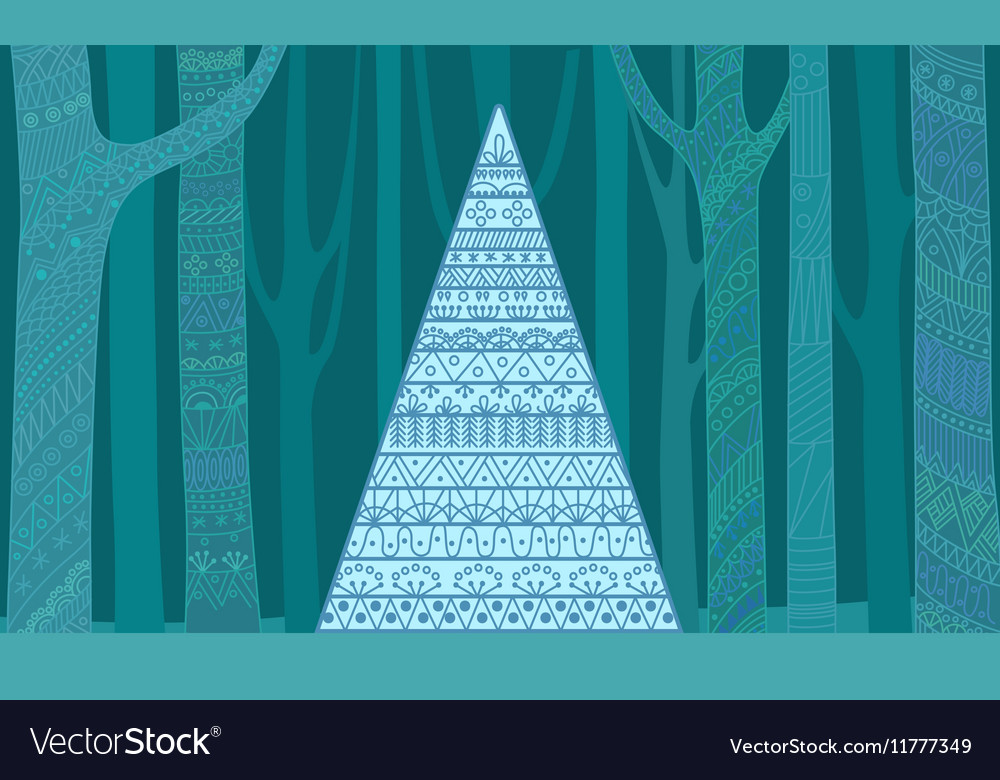 Christmas tree outline pattern Mysterious New vector image