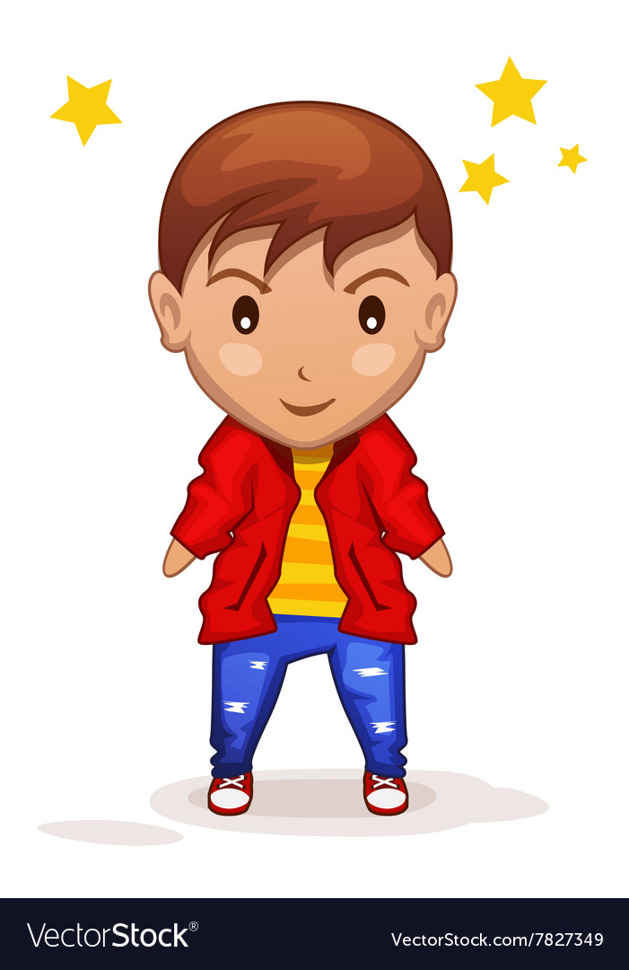 Cute cartoon children boy in