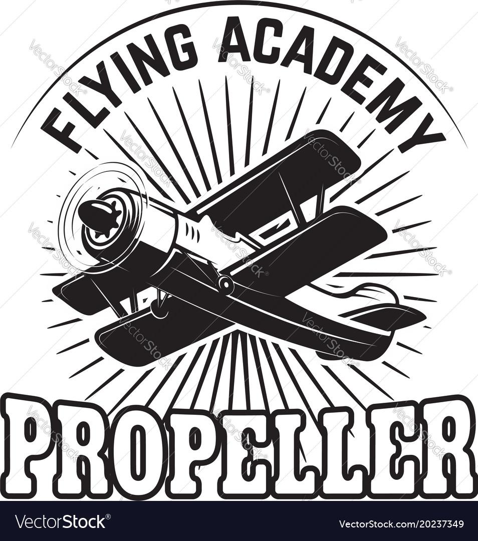 Emblem template with retro airplane design
