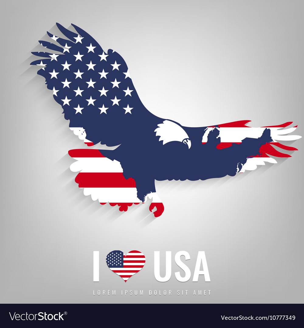 National USA symbol eagle with an official flag