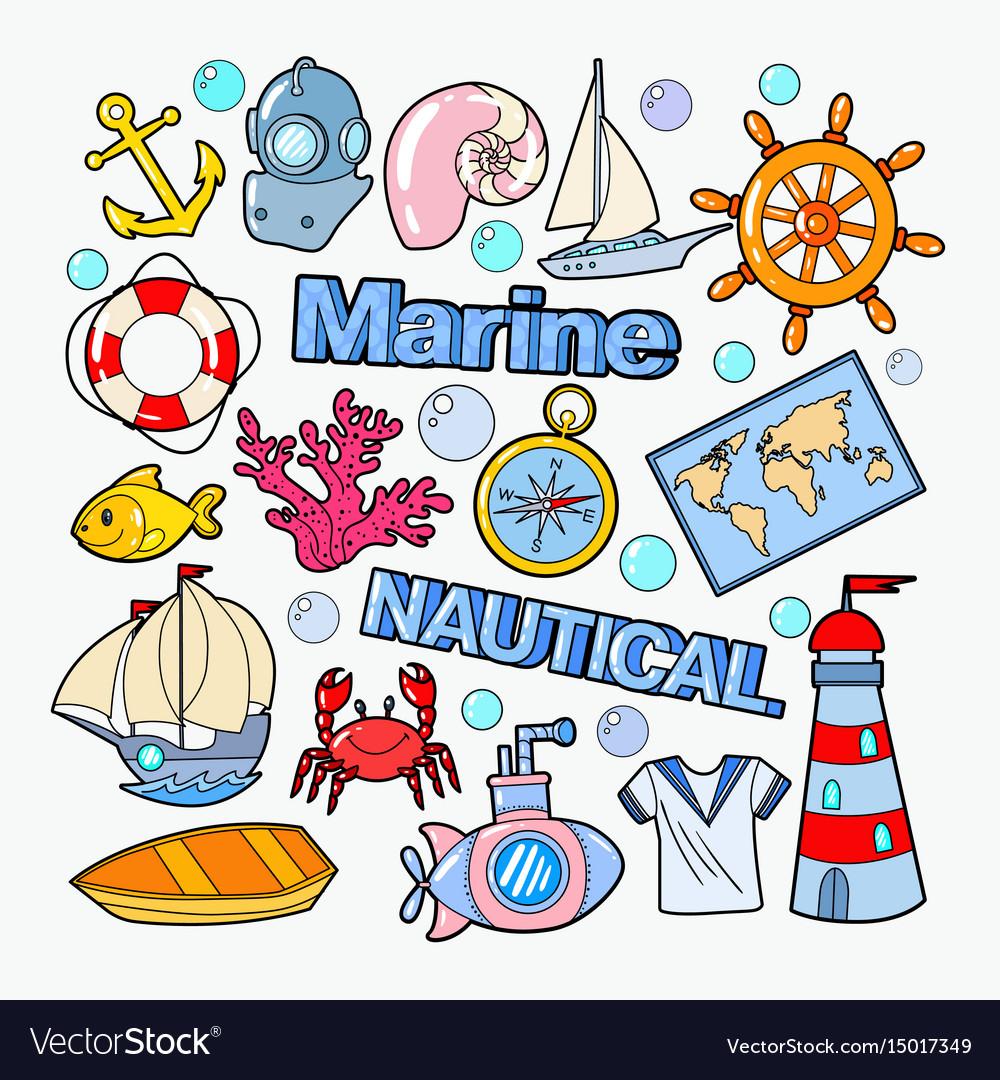 Nautical marine doodle with fish boat