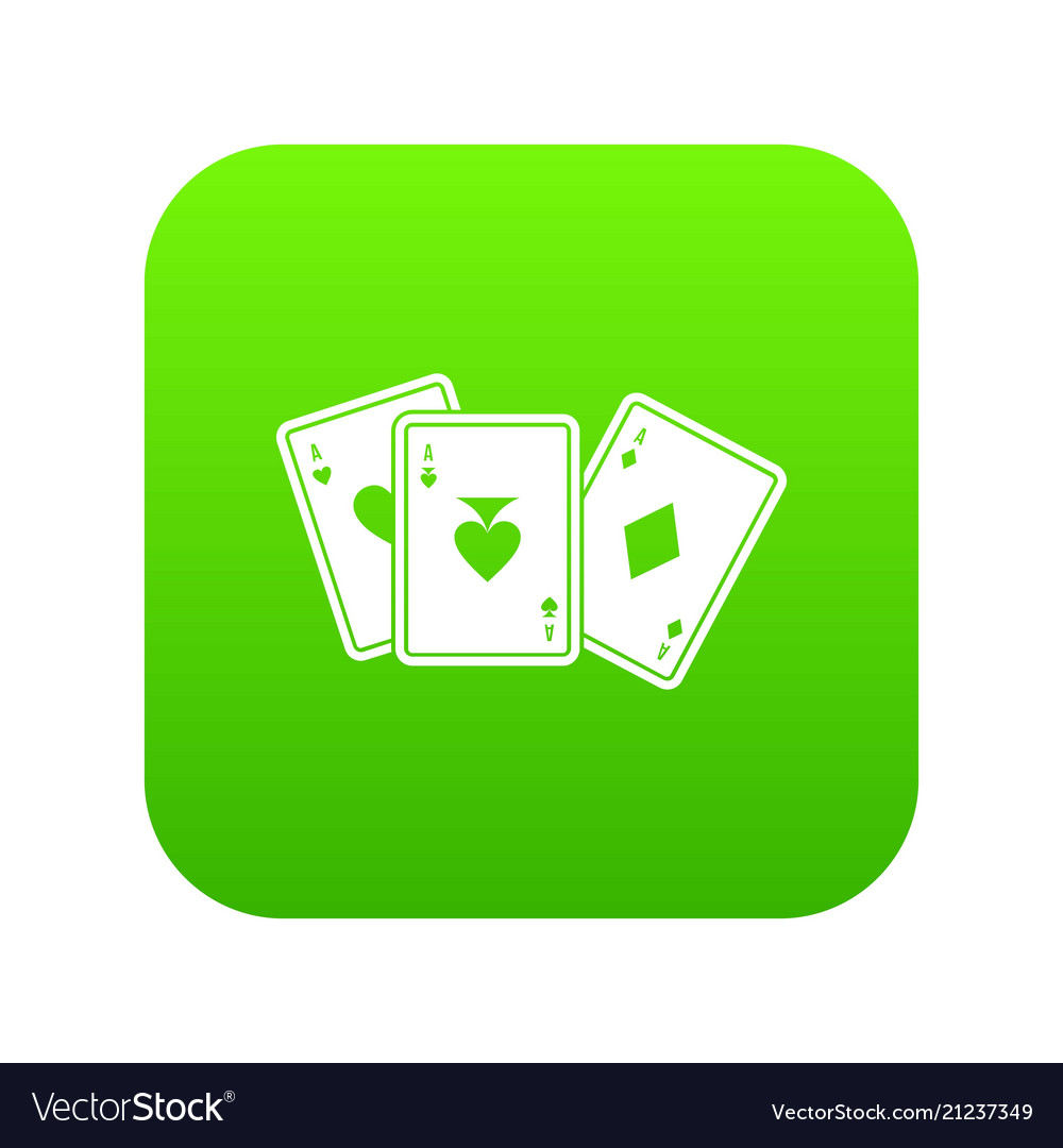 Playing cards icon digital green