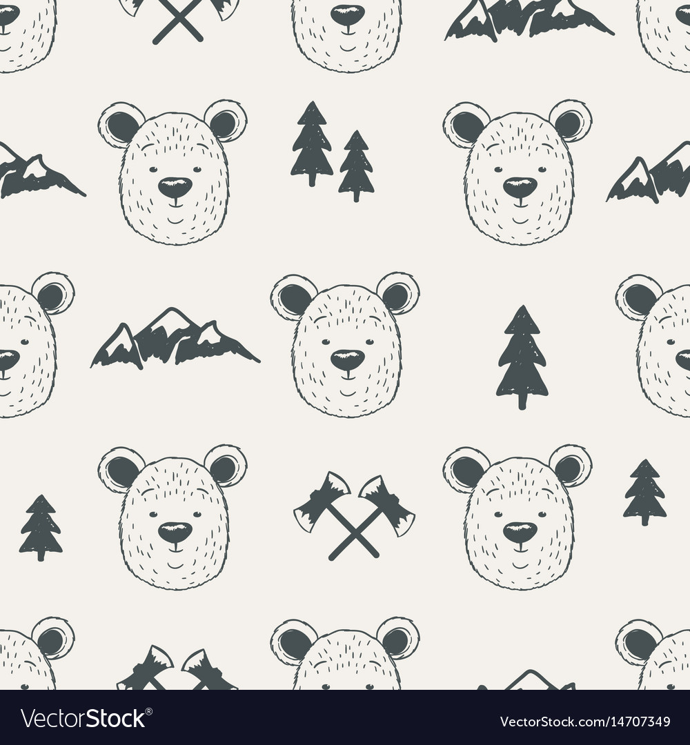 Seamless pattern with bear heads