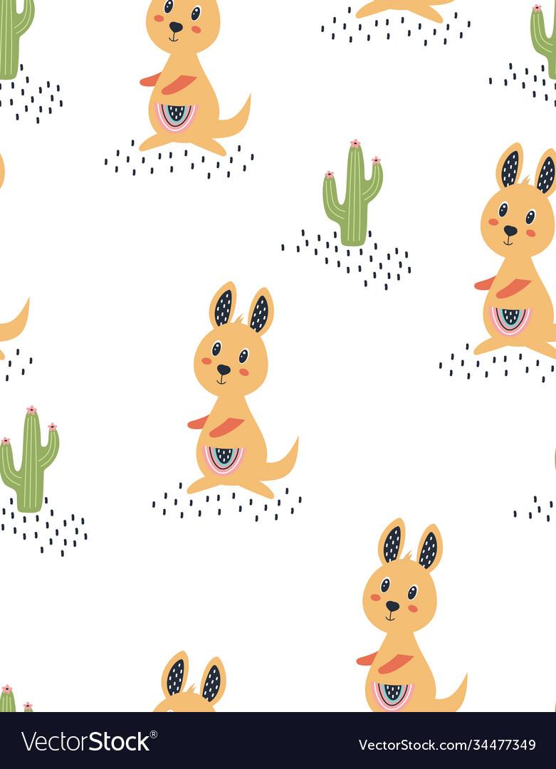 Seamless pattern with cute kangaroo