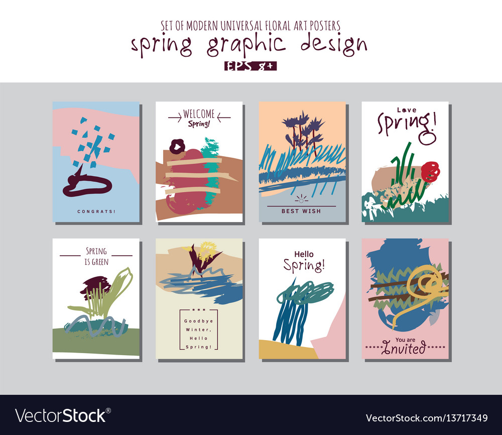 Spring set universal floral cards or posters