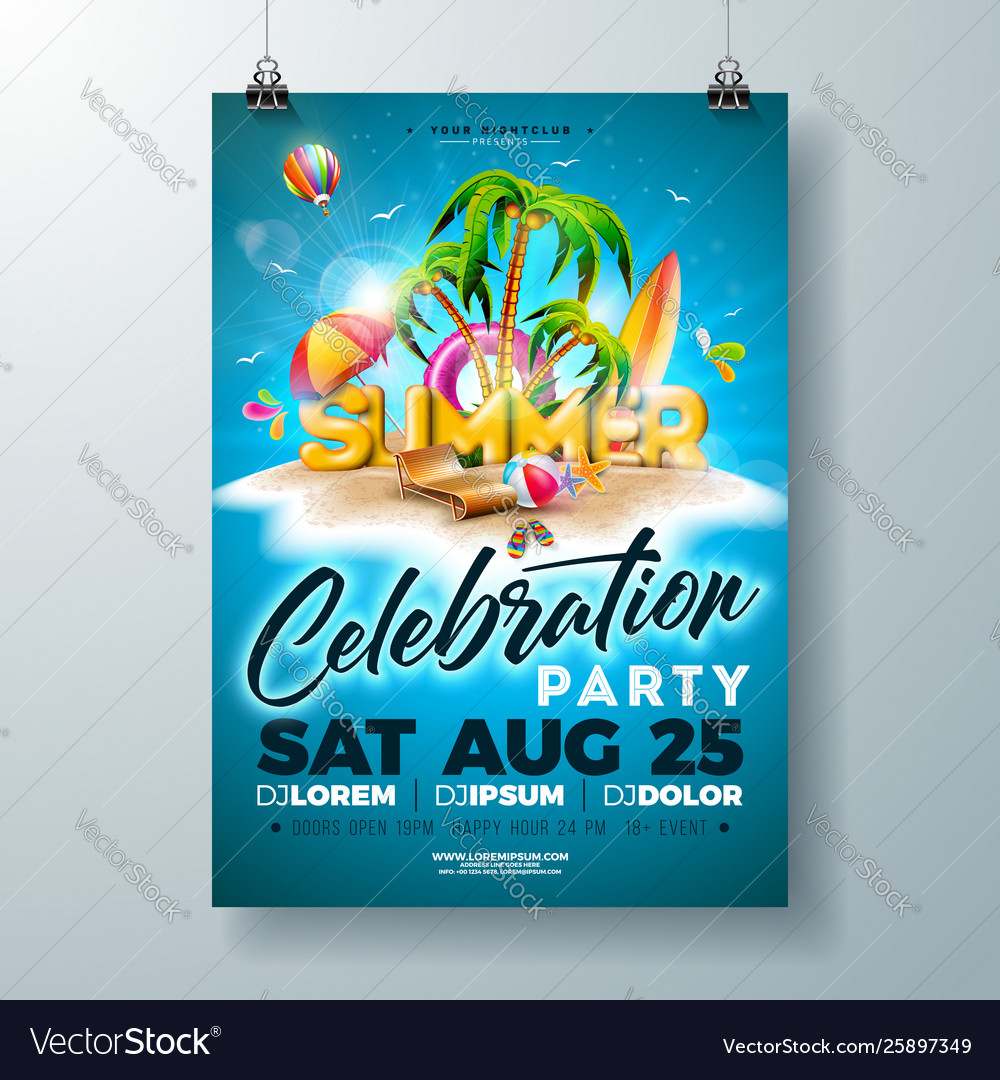 Summer party flyer design with 3d