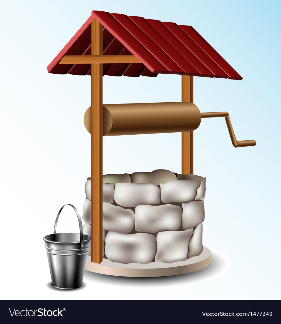 Well with metal bucket vector image
