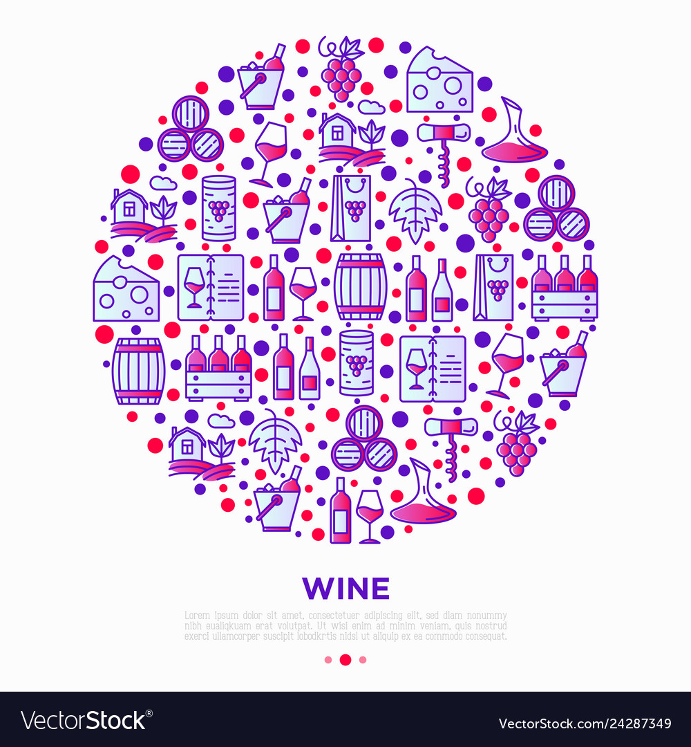 Wine concept in circle with thin line icons