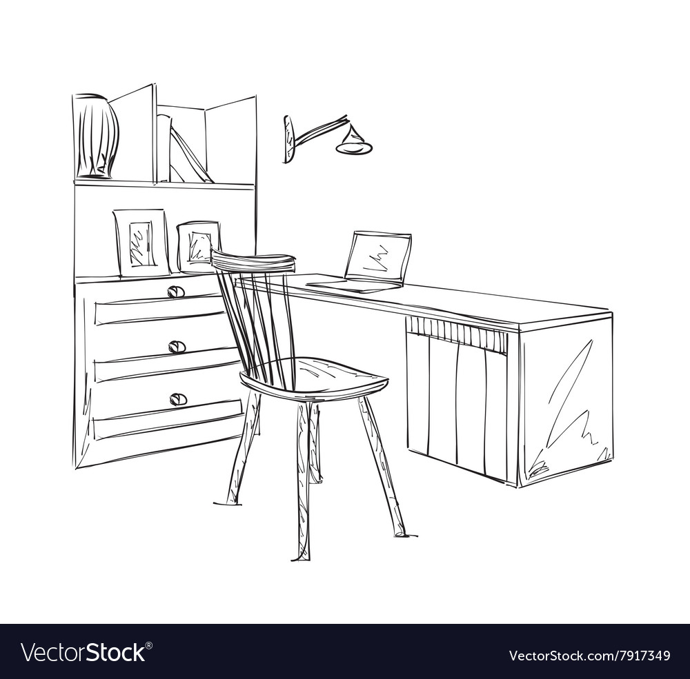 Work place sketch Hand drawn table and chair