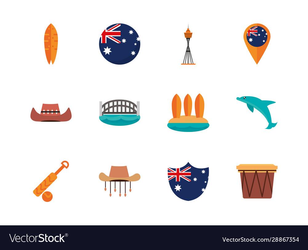 Australia animal things famous sites icons set on