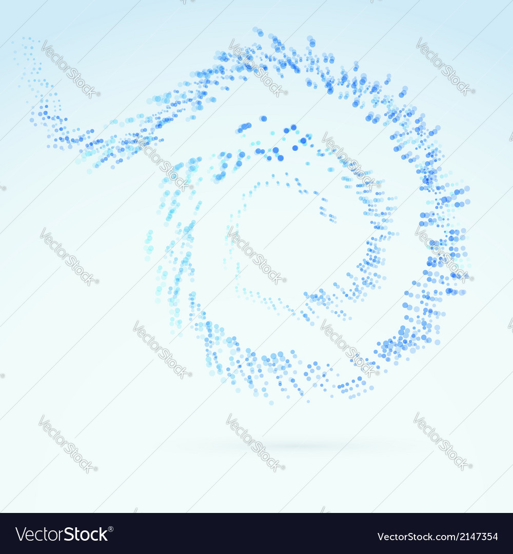 Blue fresh particle spiral swoosh line