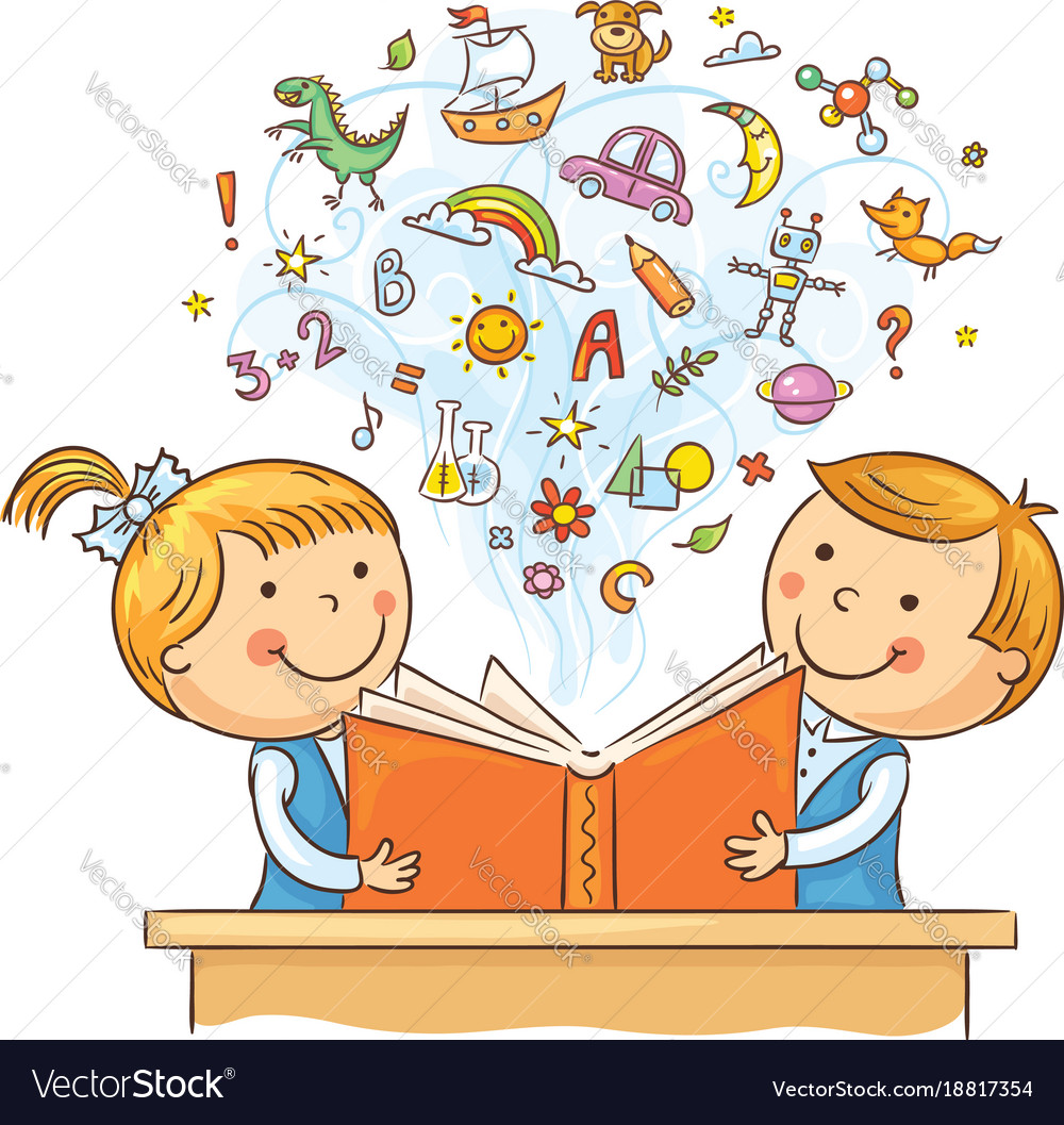 children reading a book together royalty free vector image