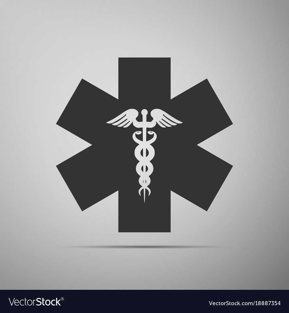 Emergency Star Medical Symbol Caduceus Snake Vector Image
