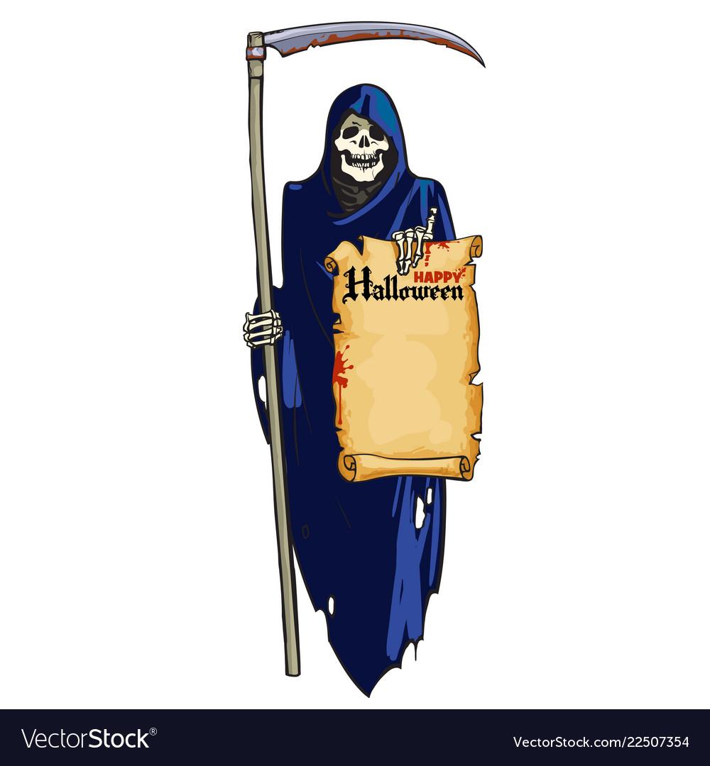 Grim reaper cute laughing skeleton with scythe