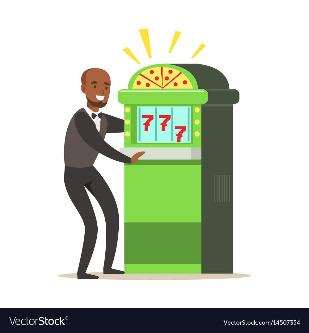 Happy man is playing slot machine jackpot vector image