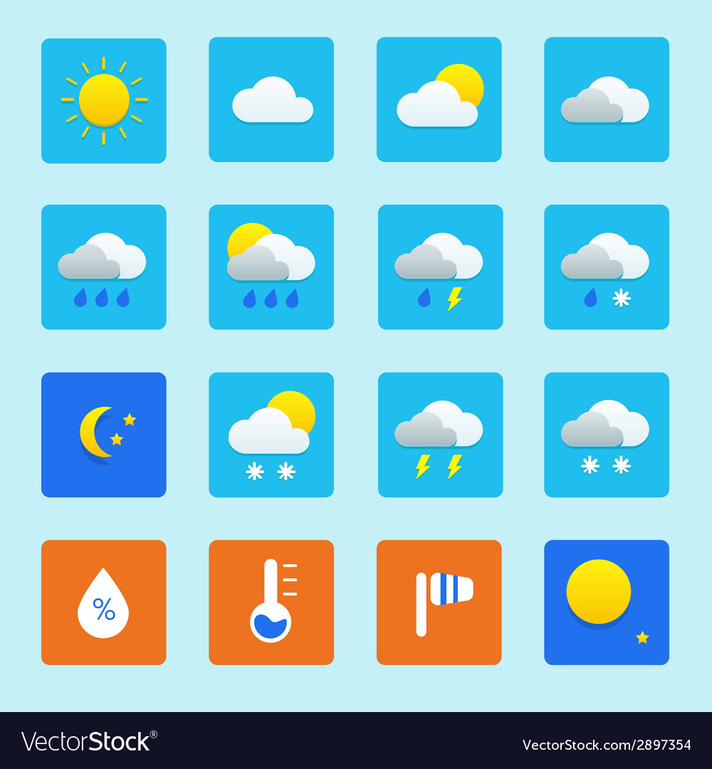 Icon set of weather icons with snow rain sun and