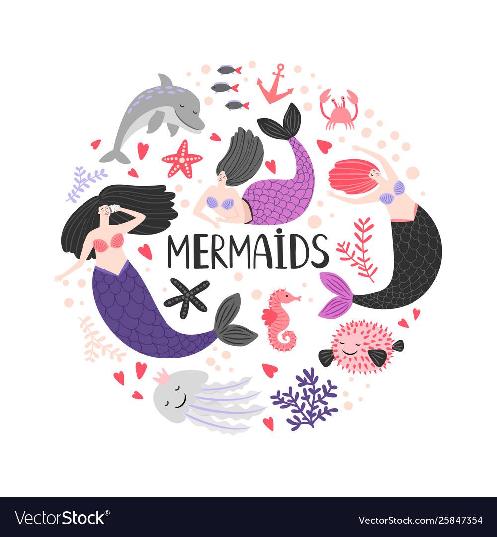 Mermaida and ocean animals