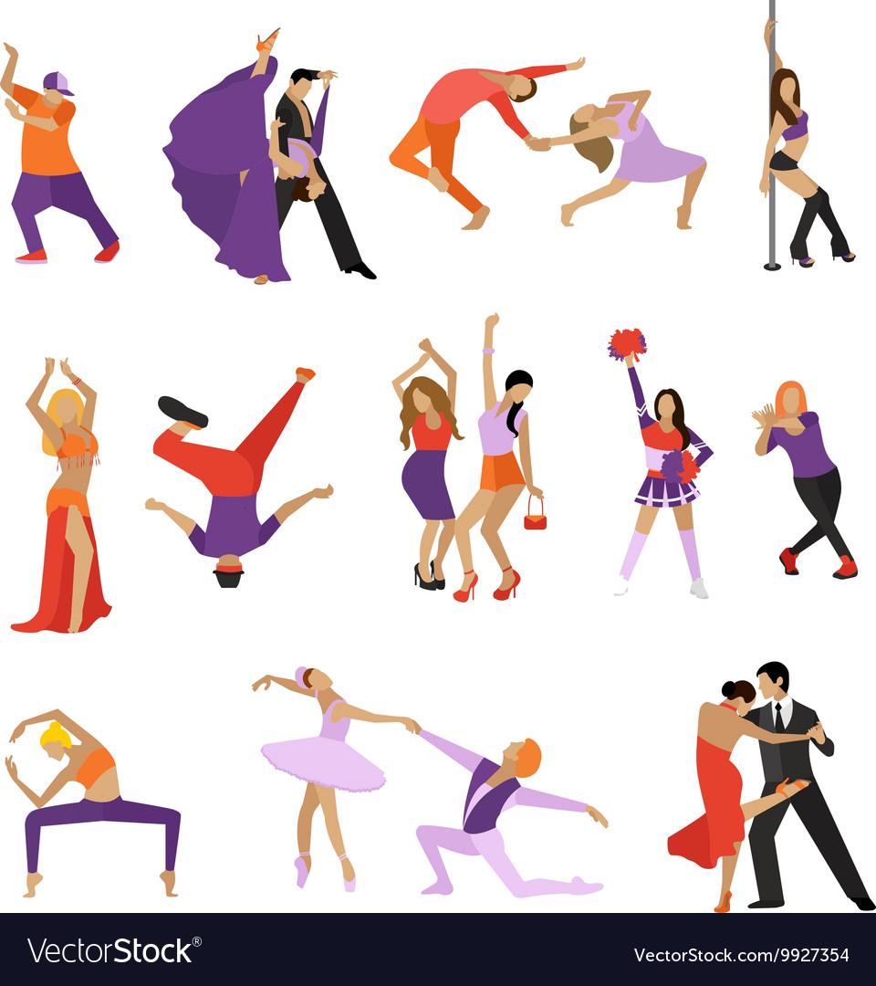 Set of dancing people Dance design