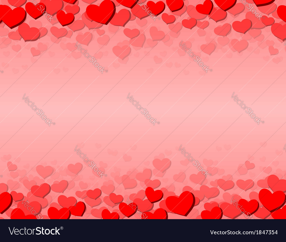 Valentines Day card with scattered hearts on top vector image