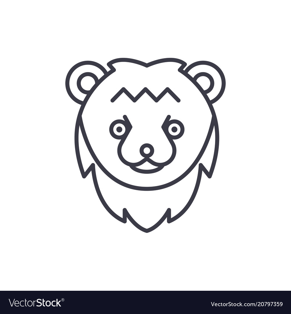 Bear head line icon sign on
