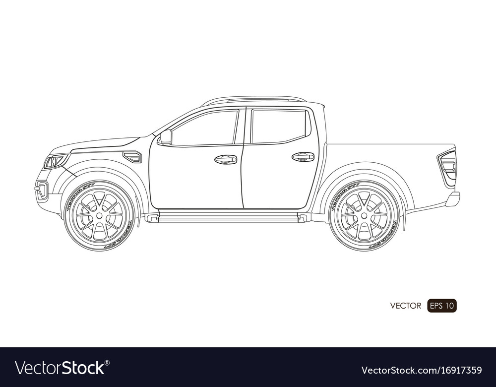 Blueprint Of Suv Contour Drawing Of Car Royalty Free Vector
