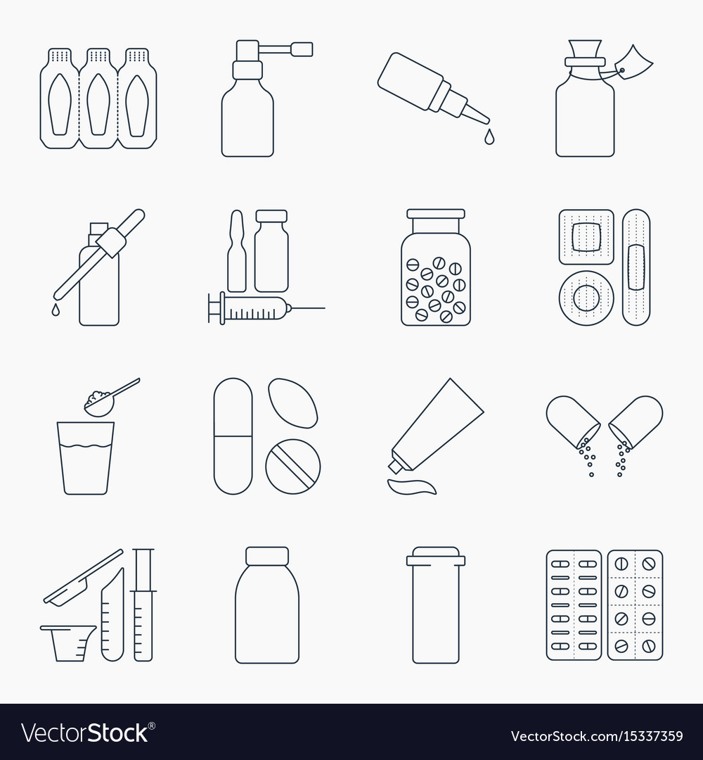 Collection of outline medical bottles icons