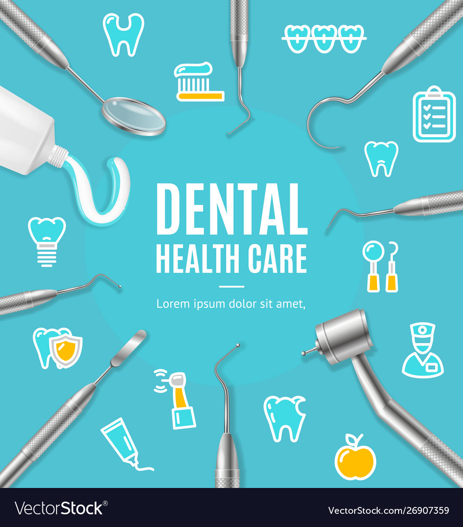 Dental health care concept banner card with